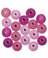Houten kralen roze gekleurd 6 mm