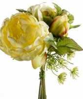 Kunst geel boeket 20 cm pioenroos tulp dille