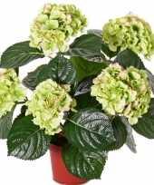 Kunst hortensia groen roze 36 cm