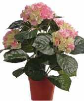 Kunst hortensia roze groen 36 cm