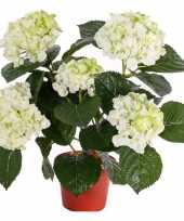 Kunst hortensia wit groen 36 cm