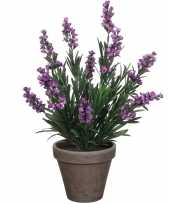 Lavendel kunstplant kamerplant paars in grijze sierpot h33 cm x d20 cm