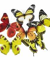 Magneet vlinder geel oranje 13 5 cm