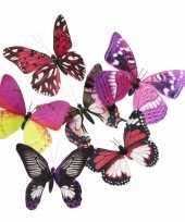 Magneet vlinder roze paars 13 5 cm