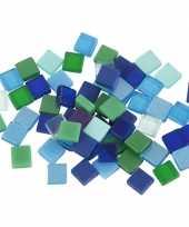 Mozaiek tegels groen blauw 5x5 mm