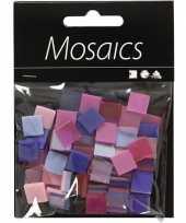 Mozaiek tegels paars roze 10x10 mm