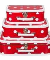 Naaidoos koffertje rood polkadot 25 cm