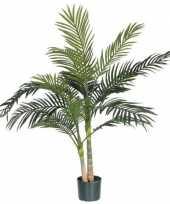 Nep planten groene areca goudpalm palmen kunstplanten 120 cm met zwarte pot