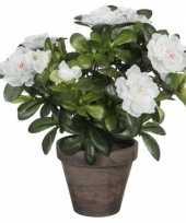 Nep planten groene azalea kunstplanten met witte bloemen 27 cm met pot stan grey