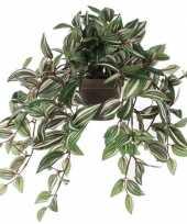 Nep planten groene tradescantia vaderplant kunstplanten 45 cm met hangpot