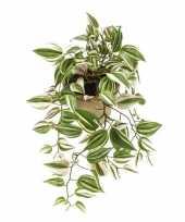 Nep planten groene tradescantia vaderplant kunstplanten 70 cm met hangpot