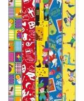 Pakket van 5x rollen sinterklaas inpakpapier cadeaupapier diverse prints 2 x 0 46 meter