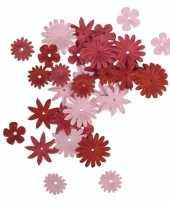 Papieren hobby bloemen 36 stuks rood roze