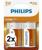 Phillips long life batterijen r20 1 5 volt 4 stuks