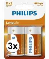 Phillips long life batterijen r20 1 5 volt 6 stuks
