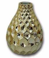 Porseleinen vaas honingraat goudkleurig 15 cm