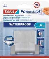 Powerstrips rvs dubbele haak waterproof tesa 1 stuks