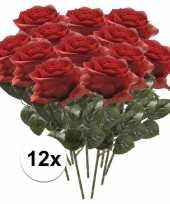 Rode roosjes kunst tak 45 cm 12 stuks