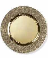 Ronde gouden structuur onderzet bord kaarsonderzetter 33 cm