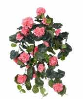 Roze geranium hangplant kunstplanten 70 cm