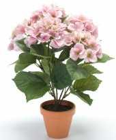 Roze hortensia kunstplant in kunststof pot 40 cm