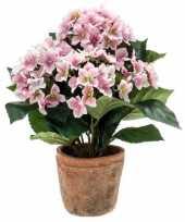 Roze kunstplant hortensia plant in pot 10110346