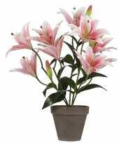 Roze tijgerlelie kunstplant 47 cm met grijze pot