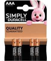 Set van 4x duracell aaa simply alkaline batterijen lr03 mn2400 1 5 v
