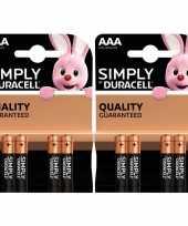 Set van 8x duracell aaa simply alkaline batterijen lr03 mn2400 1 5 v