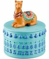 Sieradenkistje sieradenbox bruine lamas alpacas dieren 10 x 8 cm