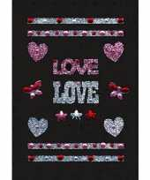 Stickers met glitter love hartjes