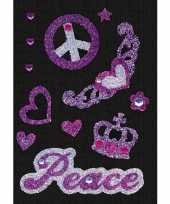 Stickers met glitter peace sixties hippie thema