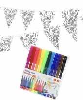 Verjaardag slinger vlaggenlijn om in te kleuren met stiften voor kinderen
