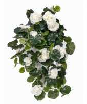 Witte geranium hangplant kunstplanten 70 cm