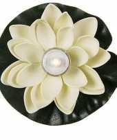 Witte waterlelie met led waxinelichtje 13 cm